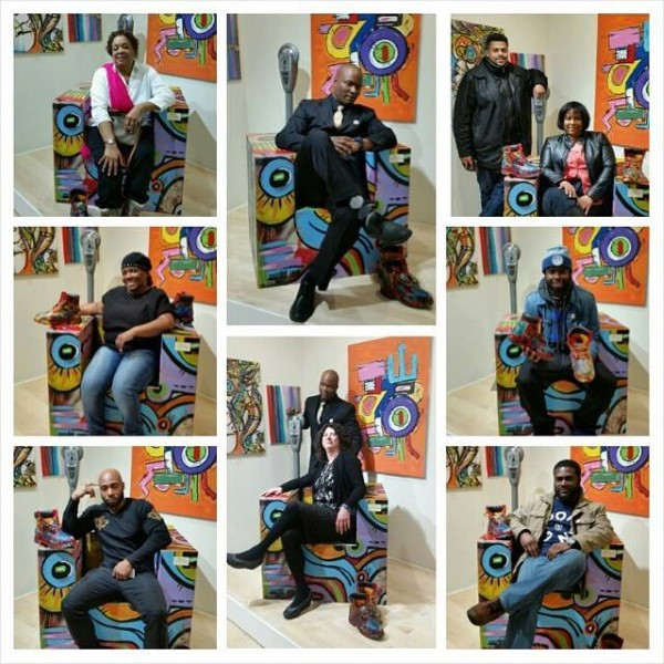 collage of people modeling in the chair